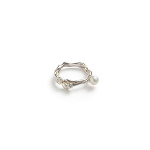 Silver & Cubic Zirconia & Pearl Ring TC