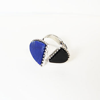 Lapis & Onyx & Silver Ring BC