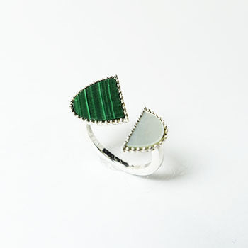 Malachite & Mother of Pearl & Silver Ring BC