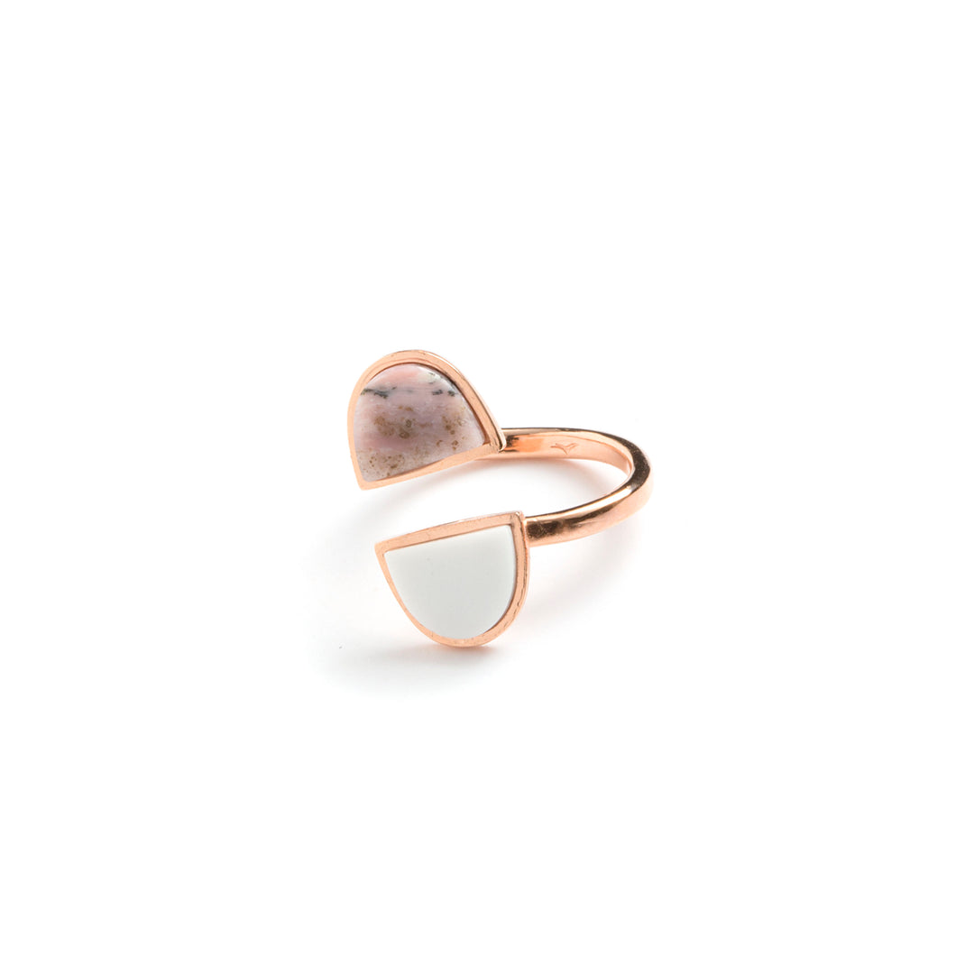Pink Opal & Agate & Rose Gold-Plated Silver Ring BC