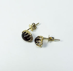 Black Garnet & Gold Plated Silver Earrings JLC