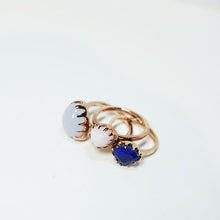 Blue Chalcedony & Rose Gold-plated Silver Ring JLC