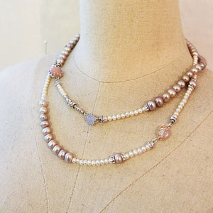 7mm Lavender Pearl & Pink Opal & Carnelian & Moonstone & Blue Chalcedony 85 cm Necklace JLC