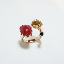 Rose Quartz & Citrine Tourmaline & Black Sapphire & Rose Gold-plated Silver Ring JLC