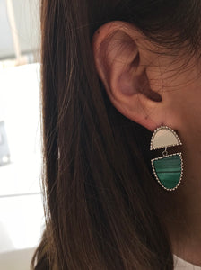 Malachite & Mother of Pearl & Silver Earrings BC
