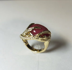 14.76ct Rhodolite & Cubic Diamond & Gold-plated Silver Ring BLC
