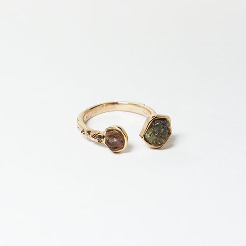 Natural Sapphire & Diamond 1mm x 8 & 14K Rose Gold Ring BLC