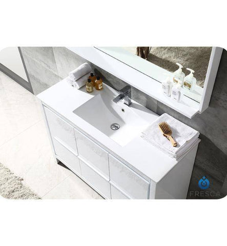 "Image of Fresca Allier 48"" White Modern Bathroom Vanity w/ Mirror"