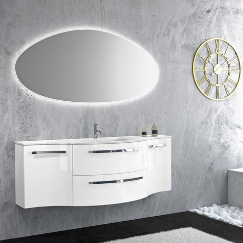 "LaToscana Ambra 57"" Wall Mount Single Modern Bathroom Vanity in Grey"