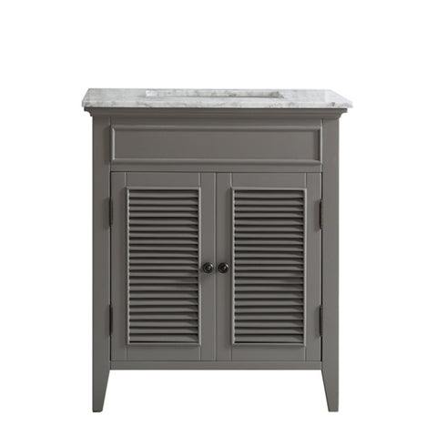 "Image of Vinnova Piedmont 30"" Single Vanity in Grey with with Carrara White Marble Countertop Without Mirror"