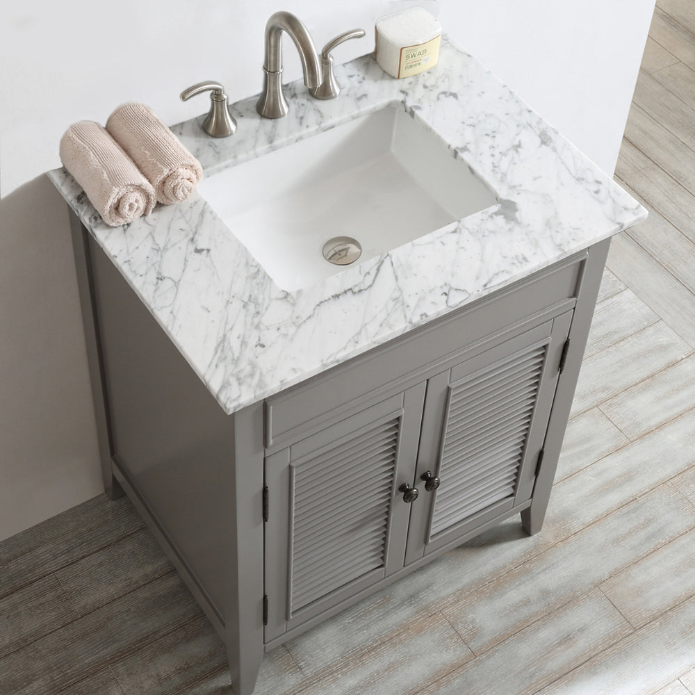"Vinnova Piedmont 30"" Single Vanity in Grey with with Carrara White Marble Countertop Without Mirror"