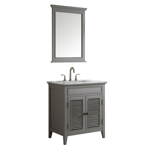 "Vinnova Piedmont 30"" Single Vanity in Grey with Carrara White Marble Countertop With Mirror"
