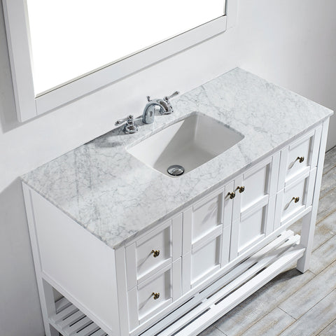 "Image of Vinnova Florence 48"" Vanity in White with Carrara White Marble Countertop With Mirror"