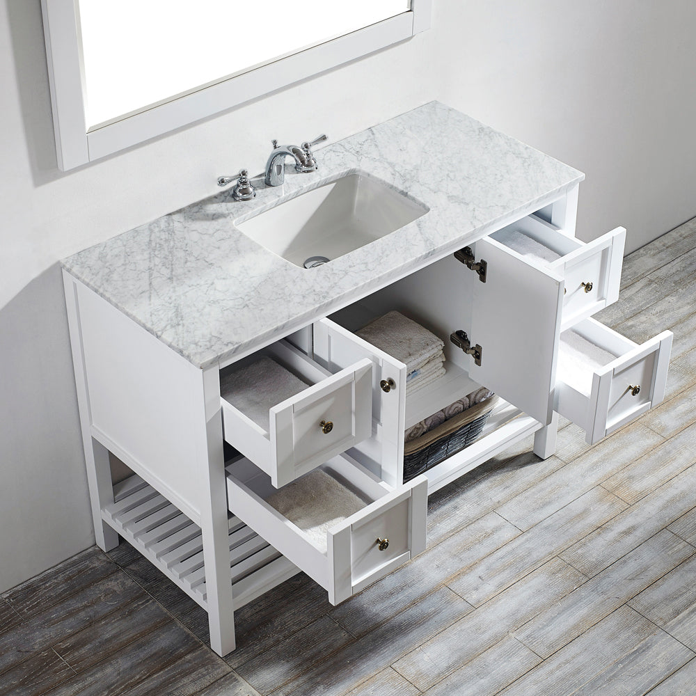 "Vinnova Florence 48"" Vanity in White with Carrara White Marble Countertop With Mirror"