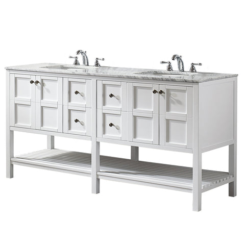 "Vinnova Verona 24"" Vanity in Espresso with Carrara White Marble Countertop Without Mirror"