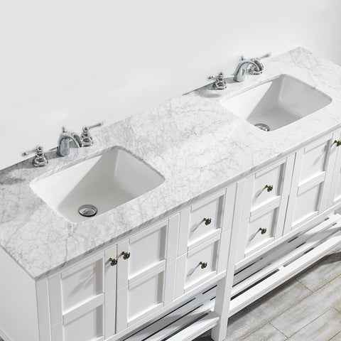 "Image of Vinnova Verona 24"" Vanity in Espresso with Carrara White Marble Countertop Without Mirror"