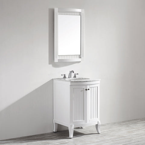 "Image of Vinnova Verona 24"" Vanity in White with Carrara White Marble Countertop With Mirror"