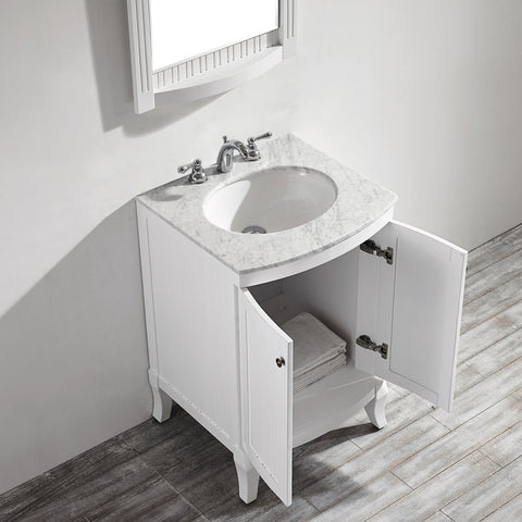 "Vinnova Verona 24"" Vanity in White with Carrara White Marble Countertop With Mirror"