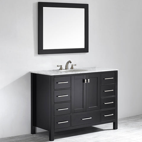 "Image of Vinnova Gela 48"" Vanity in Espresso with Carrara White Marble Countertop With Mirror"
