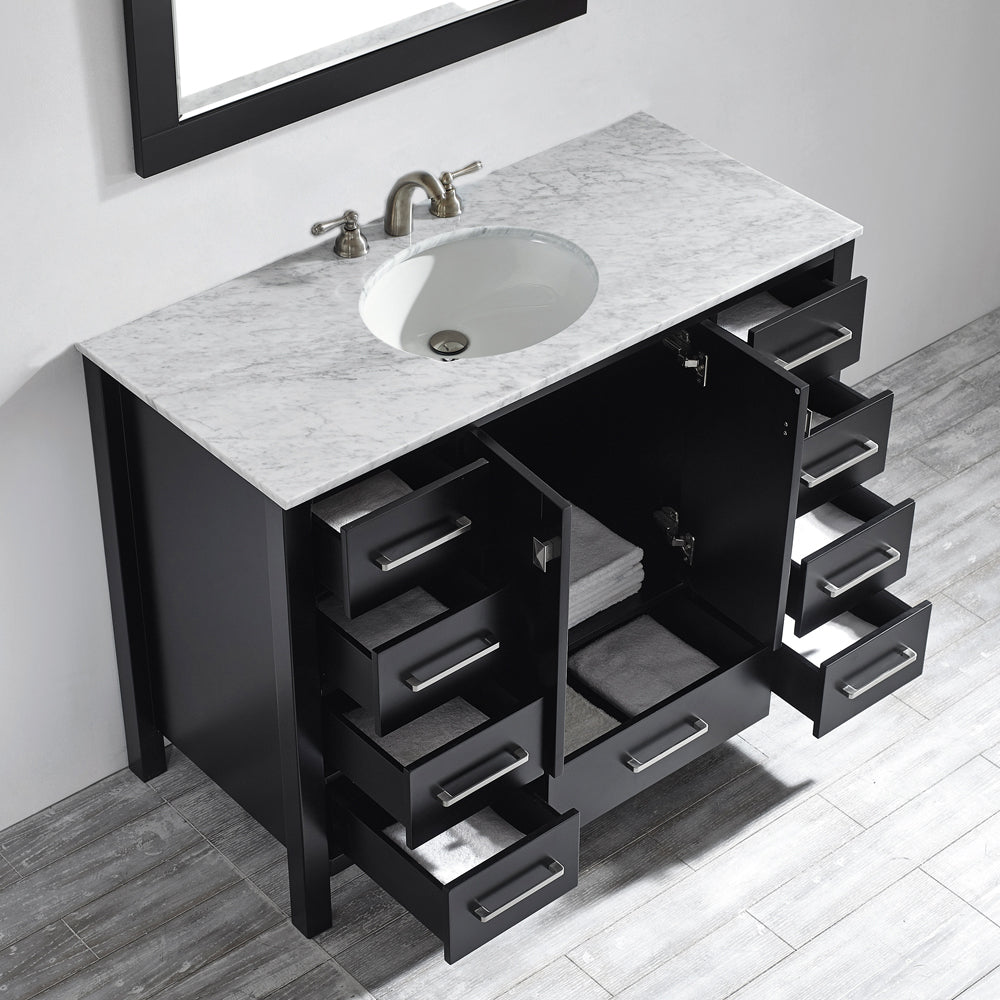 "Vinnova Gela 48"" Vanity in Espresso with Carrara White Marble Countertop With Mirror"