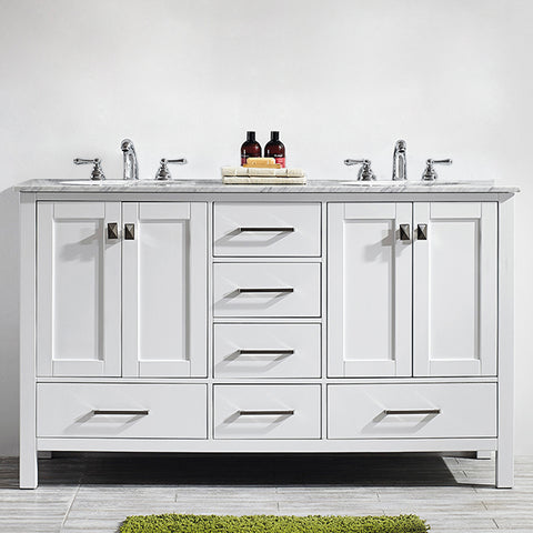 "Vinnova Gela 60"" Double Vanity in White with Carrara White Marble Countertop Without Mirror"