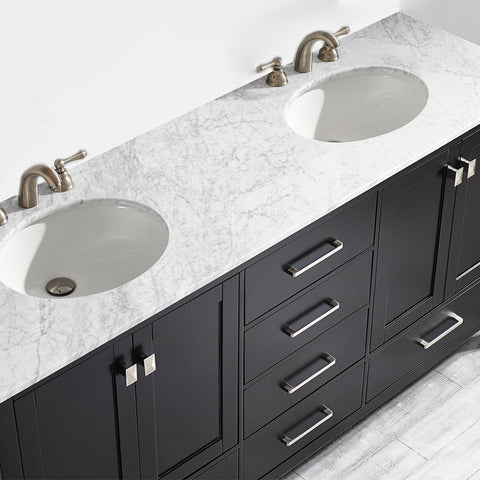 "Image of Vinnova Gela 72"" Vanity in Espresso with Carrara White Marble Countertop Without Mirror"