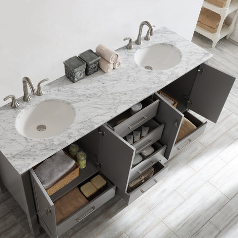 "Vinnova Gela 72"" Double Vanity in Grey with Carrara White Marble Countertop Without Mirror"