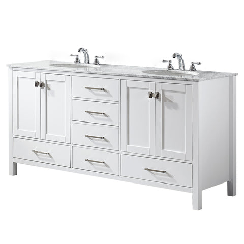 "Vinnova Gela 72"" Double Vanity in White with Carrara White Marble Countertop Without Mirror"
