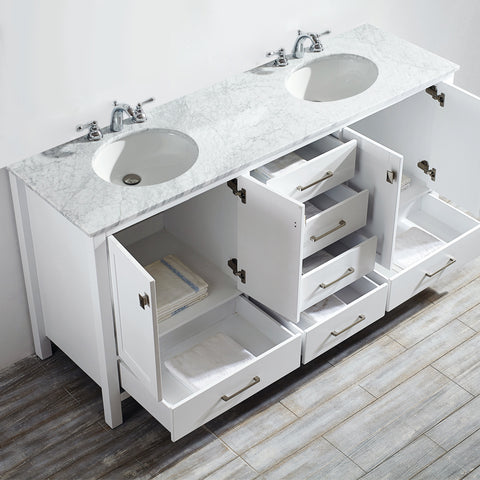 "Image of Vinnova Gela 72"" Double Vanity in White with Carrara White Marble Countertop Without Mirror"