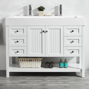"Vinnova Pavia 48"" Single Vanity in White with Acrylic under-mount Sink Without Mirror"