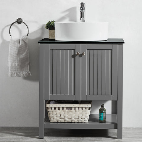 "Vinnova Modena 28"" Vanity in Grey with Glass Countertop with White Vessel Sink Without Mirror"