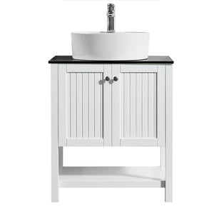 "Vinnova Modena 28"" Vanity in White with Glass Countertop with White Vessel Sink Without Mirror"