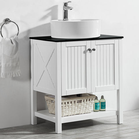 "Image of Vinnova Modena 28"" Vanity in White with Glass Countertop with White Vessel Sink Without Mirror"