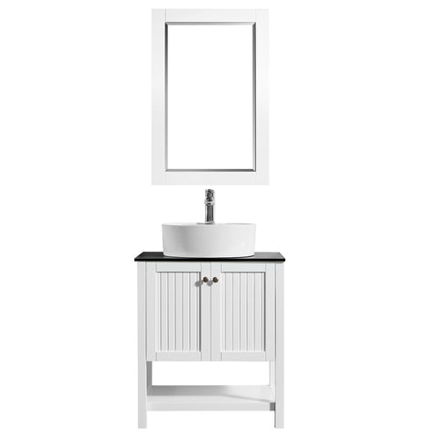 "Image of Vinnova Modena 28"" Vanity in White with Glass Countertop with White Vessel Sink With Mirror"