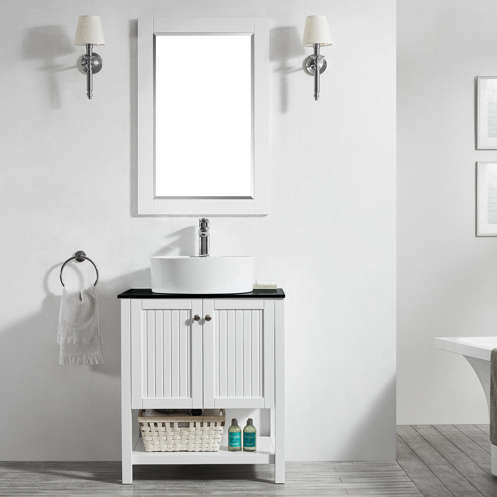 "Vinnova Modena 28"" Vanity in White with Glass Countertop with White Vessel Sink With Mirror"