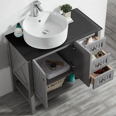 "Vinnova Modena 36"" Vanity in Grey with Glass Countertop with White Vessel Sink Without Mirror"