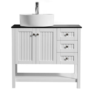 "Vinnova Modena 36"" Vanity in White with Glass Countertop with White Vessel Sink Without Mirror"