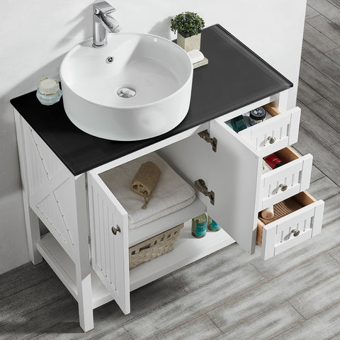"Image of Vinnova Modena 36"" Vanity in White with Glass Countertop with White Vessel Sink Without Mirror"