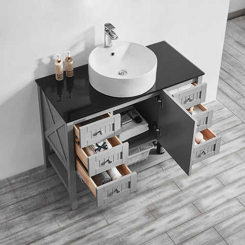 "Vinnova Modena 42"" Vanity in Grey with Glass Countertop with White Vessel Sink Without Mirror"
