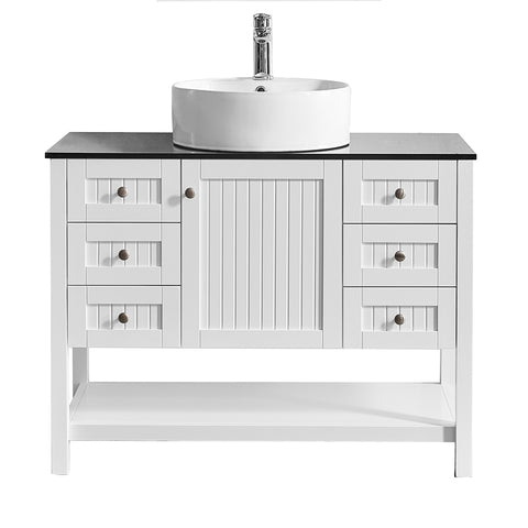 "Vinnova Modena 42"" Vanity in White with Glass Countertop with White Vessel Sink Without Mirror"