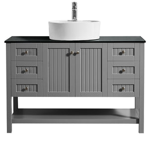 "Vinnova Modena 48"" Vanity in Grey with Glass Countertop with White Vessel Sink Without Mirror"
