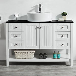 "Vinnova Modena 48"" Vanity in White with Glass Countertop with White Vessel Sink Without Mirror"
