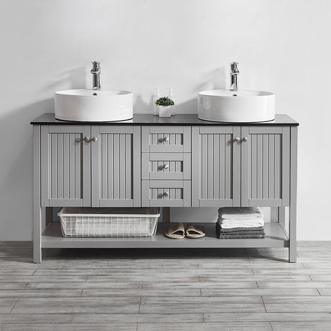 "Vinnova Modena 60"" Double Vanity in Grey with Glass Countertop with White Vessel Sink Without Mirror"