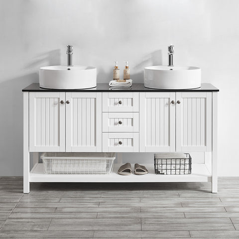 "Vinnova Modena 60"" Double Vanity in White with Glass Countertop with White Vessel Sink Without Mirror"