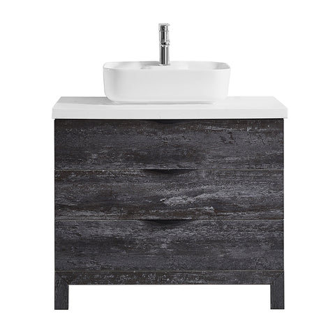 "Image of Vinnova Spencer 36"" Single Vanity in Suede Elegant Grey with Fine White Quartz Stone Without Mirror"