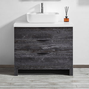 "Vinnova Spencer 36"" Single Vanity in Suede Elegant Grey with Fine White Quartz Stone Without Mirror"