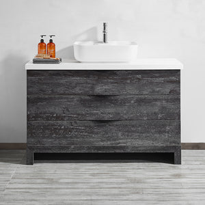 "Vinnova Spencer 48"" Single Vanity in Suede Elegant Grey with Fine White Quartz Stone Without Mirror"