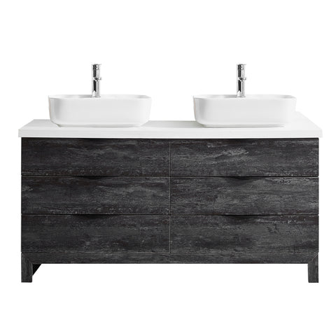 "Vinnova Spencer 60"" Double Vanity in Suede Elegant Grey with Fine White Quartz Stone Without Mirror"