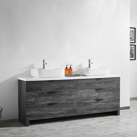 "Vinnova Spencer 72"" Double Vanity in Suede Elegant Grey with Fine White Quartz Stone Without Mirror"