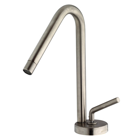 LaToscana Morellino single lever handle faucet with a rotating spout in Brushed Nickel